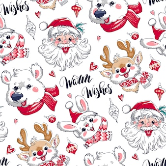 Christmas holiday seamless pattern for wrapping paper