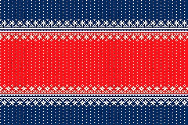 シームレスな雪片の飾りとクリスマス休暇のシームレスなピクセルパターン