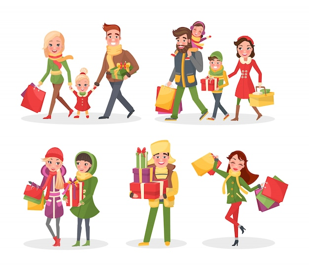 Christmas holiday shopping, family and friends