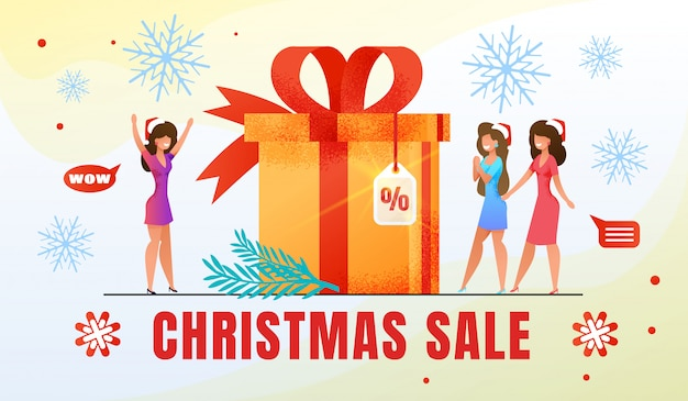Christmas holiday shopping sale flat vector banner
