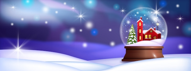 Christmas holiday snow ball illustration with red village house, drifts, pine tree, shiny stars