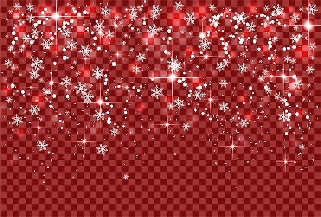 Christmas holiday snowfall and sparkle snowflakes on red transparent background