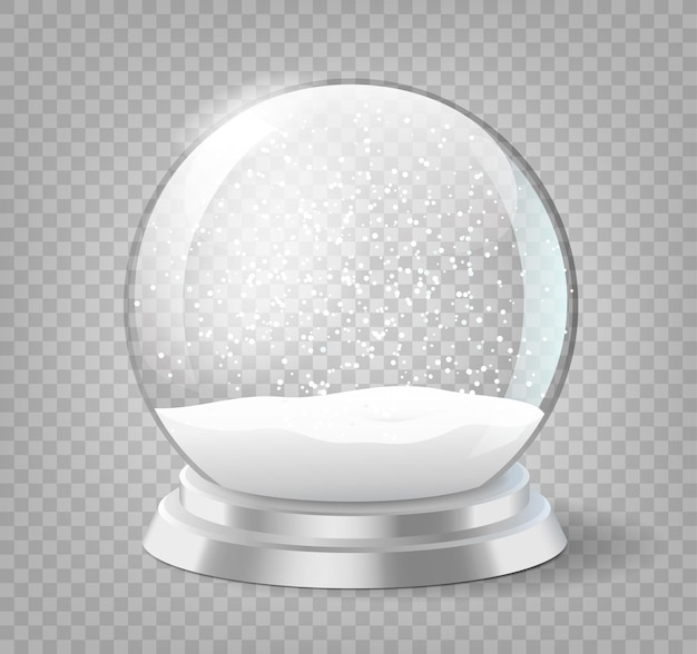 Christmas holiday snowglobe, empty glass xmas snowball template