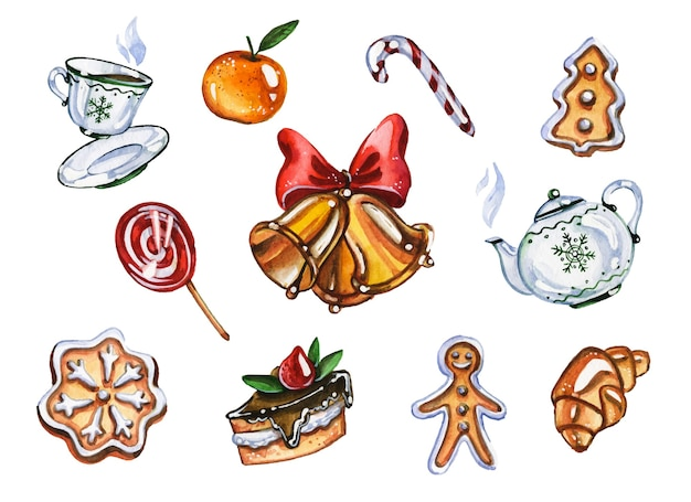 Christmas holiday sweets hand drawn watercolor illustrations set. tea and pastry, candies and mandarine on white background. jingle bell and xmas yummyes collection aquarelle painting