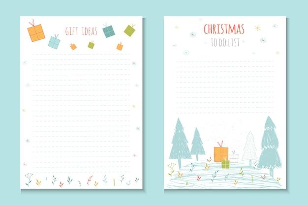 크리스마스 휴가를 할 목록, 겨울 벡터 삽화가 있는 귀여운 메모. 파티 조직, 인사말 및 저널링 카드, 초대장, 선물 장식, 편지지용 템플릿입니다.