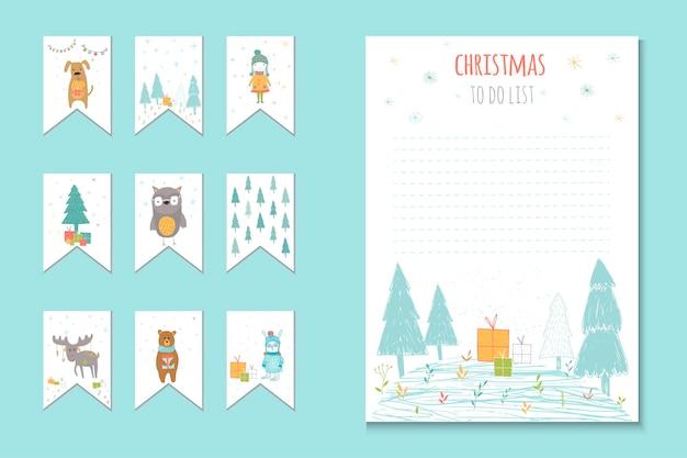 リスト、プランナー、冬のベクトルイラストとかわいいメモを行うためのクリスマス休暇。パーティーの整理、挨拶やジャーナリングカード、招待状、ギフトの装飾、文房具のテンプレート。
