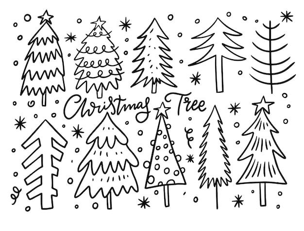 Набор рождественских праздников. ручной обращается эскиз. черный цвет