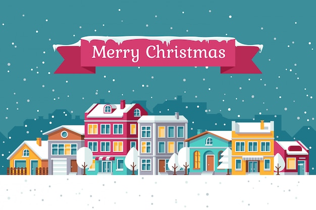 Christmas holiday vector greeting card with winter cityscape in snow