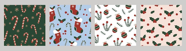 Christmas holiday vintage seamless pattern illustration collection