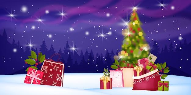 Рождественские каникулы зимняя распродажа баннер со снегом, лесной пейзаж, украшенное расфокусированным деревом