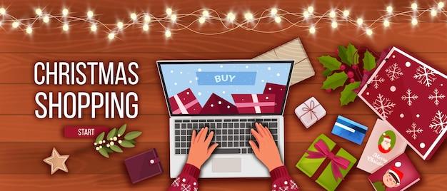 Рождественский праздник зимняя распродажа предлагает баннер с видом на стол