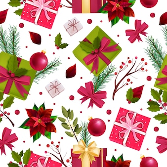 Christmas holiday winter seamless pattern with gift boxes, fir branches, red poinsettia leaves