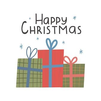 귀여운 선물 상자가 있는 크리스마스 휴가 해피 크리스마스 레터링이 있는 인사말 카드