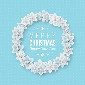 Christmas holiday wreath. 3d decorative snowflakes with shadow and pearls. blue dotted background with greeting text. vector illustration.
