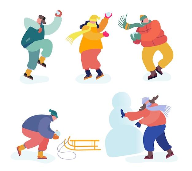 Набор мероприятий рождественских праздников. снежки битва между командами друзей.