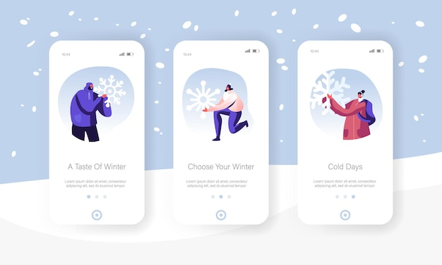 Набор экранов для мобильных приложений в рождественские праздники.