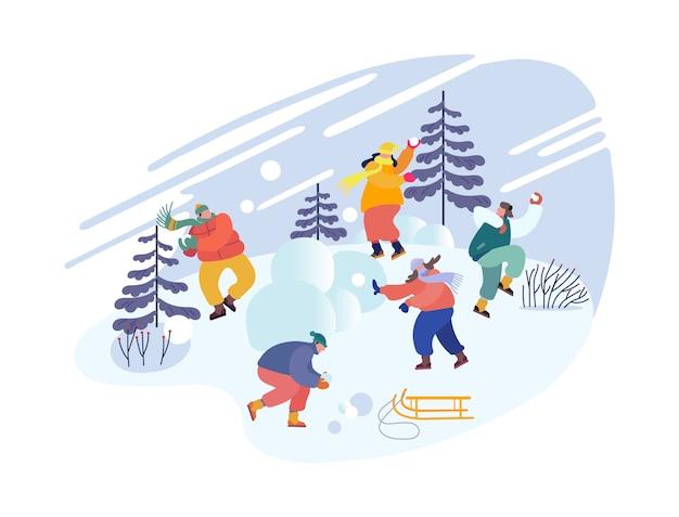Рождественские праздники. снежки битва между командами друзей.
