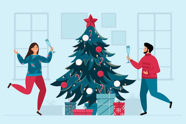 Рождественские каникулы дома с парой и елкой