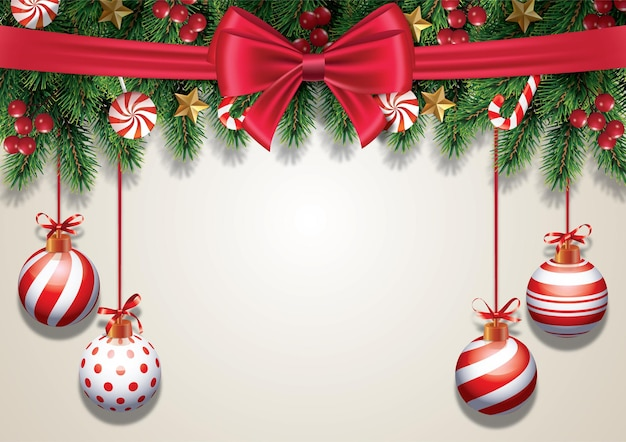 Christmas holidays background composition xmas greeting card with hanging balls and red ribbon