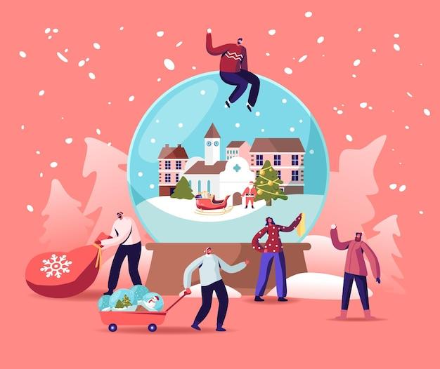 Концепция празднования рождественских праздников с крошечными персонажами вокруг огромного хрустального шара. люди готовят подарки, сувениры к празднованию рождества. зимний праздничный сезон. векторные иллюстрации шаржа