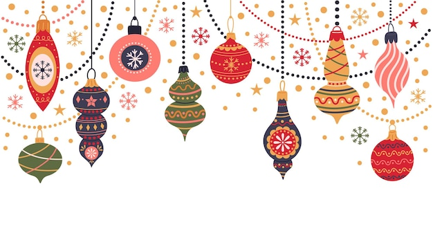 크리스마스 휴일 장식 겨울 휴가 전나무 장난감 화환 및 장식 벡터 세트