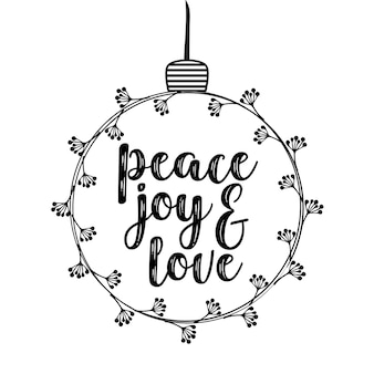 Christmas and holidays decorative design with text inscription peace joy and love