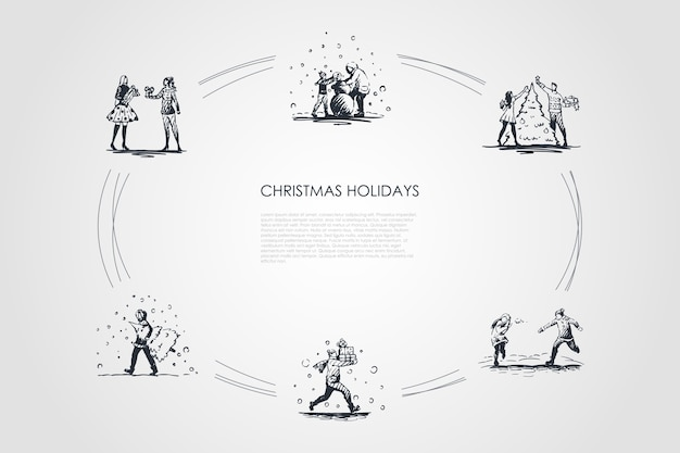 クリスマス休暇手描きのシクル