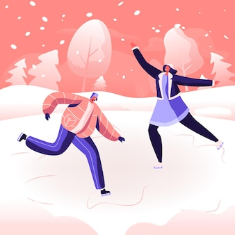 Christmas holidays spare time amusement. happy people performing leisure outdoor activities at winter park. cartoon flat  illustration