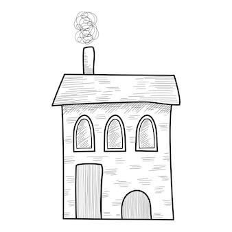 크리스마스 휴일 따뜻한 집 아이콘입니다. 웹 디자인을 위한 크리스마스 휴일 따뜻한 집 벡터 아이콘의 손으로 그린 및 개요 그림
