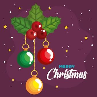 クリスマスのヒイラギのベリーとボールがぶら下がって、新年のバナーとメリークリスマスのお祝いのデザイン
