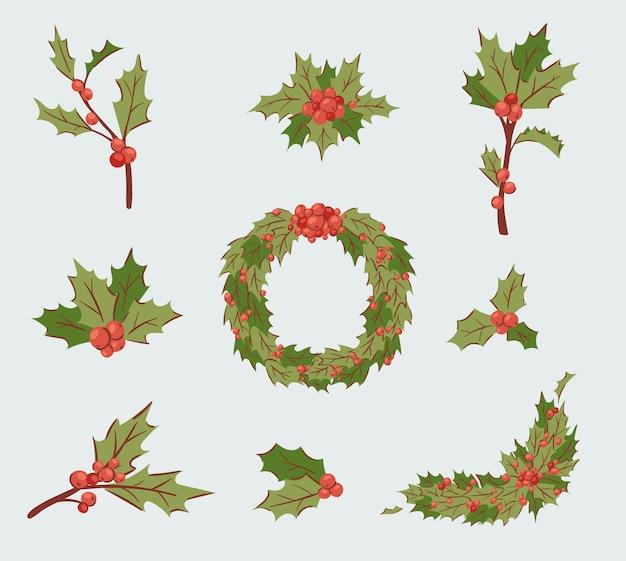 Рождественские украшения холли берри листья дерево набор, xmas традиционный холли берри символ листьев значок ветви иллюстрации