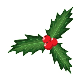 크리스마스 홀리 베리 잎. 흰색 바탕에 만화 휴일 장식 요소입니다.