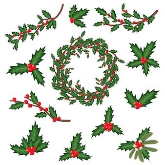 크리스마스 홀리 베리 잎, 장식, 화환 및 가지. 벡터 만화 휴가 장식 요소 집합 흰색 배경에 고립.