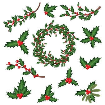 Christmas holly berry leaves, sprig, wreath and branches. vector cartoon holiday decoration element set isolated on a white background.