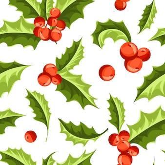 Christmas holly berry seamless pattern.