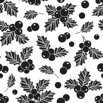 크리스마스 홀리 베리 벡터 원활한 패턴, 잎 장식, 휴일 인쇄. 간단한 그림