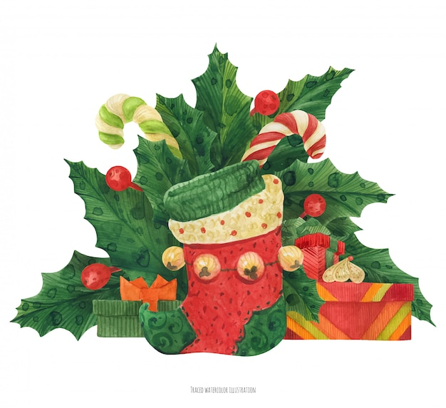 Christmas holly bouquet with elf stocking and gifts and candy canes