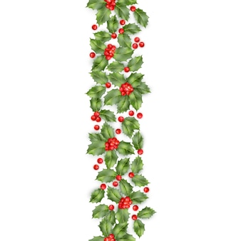 Christmas holly branch with berry seamless border. happy new year card object.