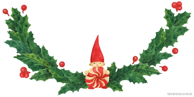 Christmas holly garland with gnome, watercolor illustration