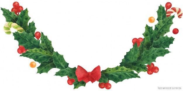 Рождественская гирлянда с красным бантом, иллюстрация акварелью