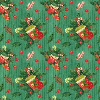 Christmas holly green pattern with elf stockings and candy canes, traced watercolor