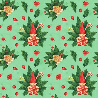 Christmas holly green pattern with gnome and gingerbread house and candy canes, traced watercolor