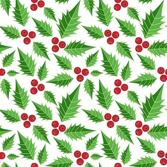 Christmas holly leaves and berries ornate seamless pattern.