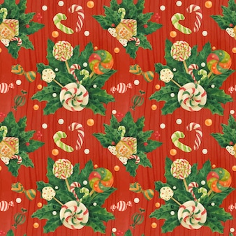 Christmas holly traced watercolor red seamless pattern with candy cane and lollipop bouquet