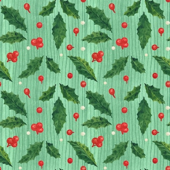 Christmas holly traced watercolor seamless green pattern with leaves and berries