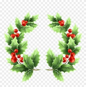 クリスマスのヒイラギの花輪のリアルなイラスト。透明な背景に緑の葉と赤いベリーの木の枝。装飾的なクリスマスのヒイラギの木の丸い小枝。ポスターデザイン要素。分離されたベクトル