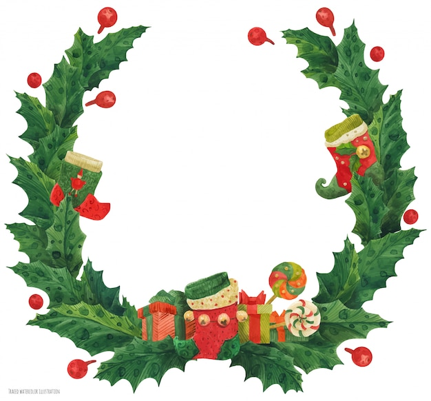 Christmas holly wreath with stocking and lollipops, watercolor illustration