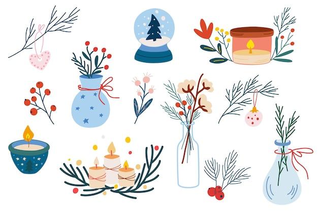 크리스마스 홈 데코 세트입니다. 겨울 꽃과 잔가지, 딸기, 양초, 크리스마스 장난감이 있는 꽃병의 손으로 그린 요소. 아늑한 겨울 시간입니다. 만화 벡터 일러스트 레이 션.