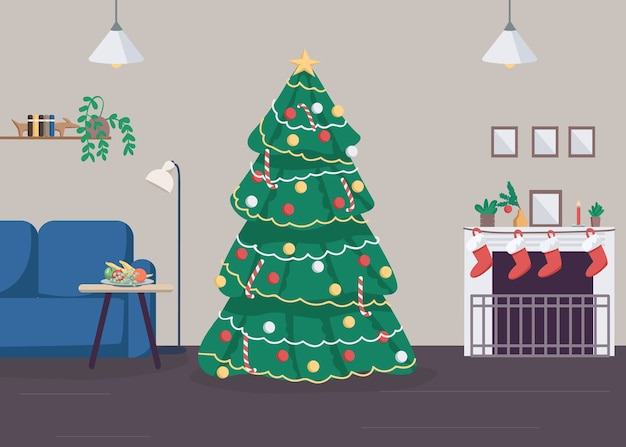 Christmas at home flat color illustration. new year celebration