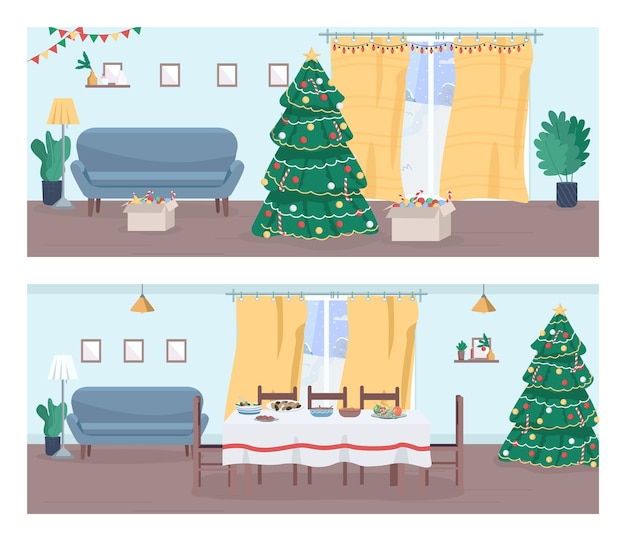 Christmas home semi flat  set. new year eve in household. christmas tree and garland. holiday dinner. festive household 2d cartoon landscape for commercial use collection